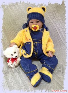 """Комплект """"Yellow style"""" Todo A Crochet, Crochet Baby Clothes, Baby Born, Knit Dress, Baby Knitting, Knitting Patterns, Crochet Patterns, Teddy Bear, Sewing"""