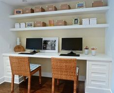Double work station, floating shelves. Brought to you by Shoplet.com - Everything for your business.