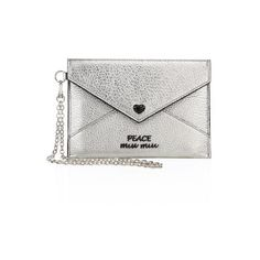 Miu Miu Metallic Leather Peace Envelope Chain Pouch ($335) ❤ liked on Polyvore featuring bags, handbags, clutches, cromo, leather clutches, leather handbags, white leather handbags, white wristlet and white clutches