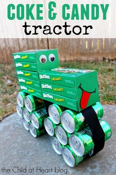 How to Make a Coke and Candy John Deere Inspired Tractor Gift:  Make this super fun gift in just a few minutes for the farmer in your life!