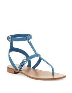 PRADA Studded Ankle-Wrap Thong Sandal