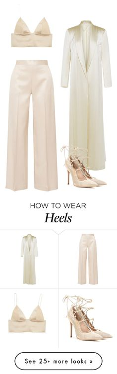 """""""SILK BRALETT AND HEELS"""" by northwood on Polyvore featuring The Row, T By Alexander Wang, Barbara Casasola and Gianvito Rossi"""
