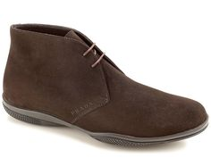 Prada men's desert boots in Dark Brown Suede leather - Italian Boutique €364