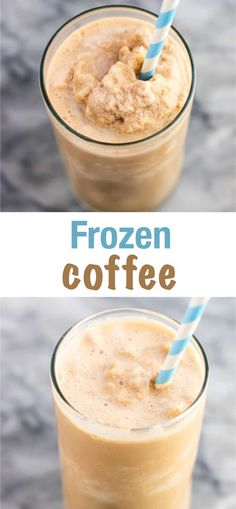 Easy and delicious frozen coffee recipe made with tru whip, chocolate syrup, creamer, cold brewed coffee, and ice. A homemade coffee treat! Blended Coffee Recipes, Blended Coffee Drinks, Coffee Smoothie Recipes, Tea Recipes, Iced Coffee Blender Recipe, Easy Ice Coffee Recipe, Smoothies Coffee, Frozen Drink Recipes, Breakfast Recipes