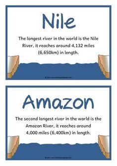 A set of 18 A5 printable fact cards that give fun and interesting facts about rivers. Each fact card has a key word heading, making this set a useful word wall for any class learning about this topic! Visit our TpT store for more information and for other classroom display resources by clicking on the provided links. Geography Map, Teaching Geography, Class Displays, Classroom Displays, Vocabulary Word Walls, English Vocabulary, Communities Unit, Science And Nature, Earth Science