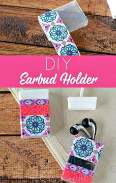This quick and easy DIY Earbud Holder is a perfect way to store your earbuds. As a bonus it's super easy to see at the bottom of your backpack or purse! This quick and easy Crafts To Do, Easy Crafts, Easy Diy, Duct Tape Crafts, Washi Tape, Earbud Holder Diy, Diy Backpack, Do It Yourself Crafts, Diy Blog