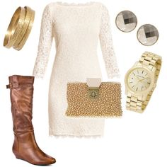 lace dress - not crazy about the boots with this outfit