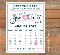 Calendar Save the Date Printable by TwirlyDesigns on Etsy