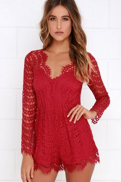 Always Amazing Wine Red Lace Romper - LuLu*s Amazing Black Friday Sale is on!