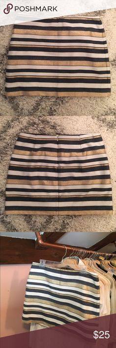 """J. Crew Mini Skirt Size 10 Like new skirt (only worn 1-2 times) perfect for work or casual occasions. From Jcrew listing: """"We combined two of our favorite things -- a rich multistripe and our favorite chino fit -- to create a sporty-chic mini we're wearing with everything from heels to flip-flops. The richly colored engineered stripe was precisely placed for an ultra-flattering effect. (In fact, we loved the stripe so much, we used it throughout our collection.)"""" Cotton/nylon, sits at waist…"""