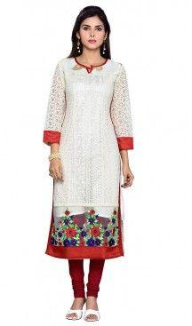 Off White Color Net Readymade Long Trendy Kurtis For Women   FH440269547