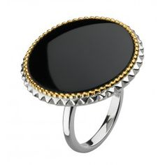 Navajo Black Onyx with Gold Ring - in Sterling Silver and 18ct Gold Plate