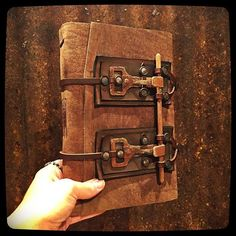 """Just finished this badass beauty! """"Grizzly"""" is tally wide and is bound with 112 pages of watercolor paper! Handmade Journals, Handmade Books, Eye Journal, Leather Bound Books, Beautiful Book Covers, Journal Covers, Leather Journal, Book Binding, Book Of Shadows"""