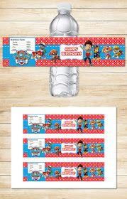 Free Paw Patrol Printables: Free Printable Paw Patrol Water Bottle Labels | Red BG Theme