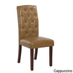 Add some vintage flair to your decor with these elegant cappuccino faux leather tufted parson chairs. The chairs are not only fashionable, they also have a contoured back and a comfortable seating cushion. Overstock