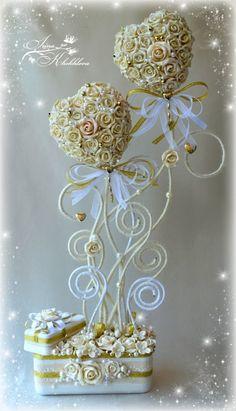 свадебный топиарий Valentine Decorations, Valentine Crafts, Flower Decorations, Wedding Decorations, Valentines, Wedding Crafts, Wedding Favours, Diy Flowers, Paper Flowers