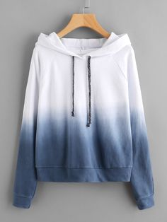 Shein Raglan Sleeve Ombre Hoodie is part of Fashion clothes women - Hoodie Sweatshirts, Sweater Hoodie, Hoody, Blue Hoodie, Hoodie Jacket, Jugend Mode Outfits, Stylish Hoodies, Vetement Fashion, Teen Fashion Outfits