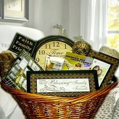 """Inspirational Gift Basket Zotorius Creations Gift Baskets, LLC Family & Friends Gift Raffle Basket This gift basket consist of a large laundry wicker basket enclosed with two beige bath premium bath towels, 5×7 black/gold decorative design glass photo frame; black/gold wall mount """"Thank You God for the Blessing of Family & Friends """"; """"Family"""" design oil candle burner; Tyler Perry's """"Madea Big Happy Family"""" The Play on DVD; Wall plaque """"Faith, Family & Friends """"; Men's Bodywork by Raymond…"""