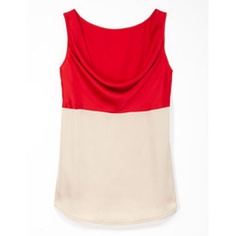 Draw attention up toward your face with this Empire-waist, two-tone Rafaella tank. The ruby-colored cowl neck highlights your décolleté while a solid taupe panel floats effortlessly over your middle.