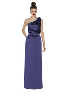 A-line One Shoulder With Belt Bow Royal Purple Bridesmaid Dress BD0283 www.simpledresses.co.uk £101.0000