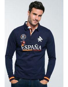 Valecuatro Polo Team España azul marino Polo Rugby Shirt, Polo Team, Polo T Shirts, Fred Perry, Logo Azul, Polo Outfit, Polo Ralph Lauren, Sleeves, Mens Tops