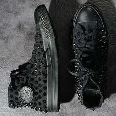 | Converse Allstar Black Studded High Top Tennis Shoes |