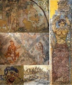 Qusayr Amra (« petit château rouge »), Jordanie, 711-715, règne d'al-Walid Ier (705-715). Détails du décor intérieur de fresques.