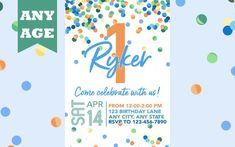 First Birthday Invitation, Blue Confetti, Boy 1st Birthday Invite, Confetti Birthday, Any Age, Printable, Boy Birthday Invitation, Printable