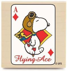 Snoopy Flying Ace Card (Peanuts) - Rubber Stamps