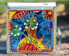 Pop Art Daisy Sun Catcher from Ornately Lanterns - Style Window Ornament / Glass Painting / Garden Decoration / Retro Art Home Decor / Brilliant Colour Decor Art Pop, Painted Glass Blocks, Hand Painted, Family Clock, Block Craft, Led Fairy Lights, Led Christmas Lights, Harry Potter Art, Retro Art