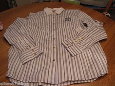 Tommy Hilfiger womens stripe long sleeve shirt gold buttons XL 7610158 WH $79.50