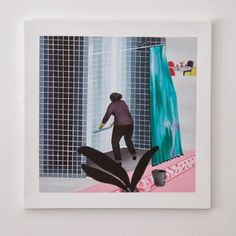 Woman Cleaning Shower in Beverly Hills (after David Hockney's Man Taking Shower in Beverly Hills 1964) by Ramiro Gomez