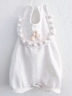 Victorian Lace White Romper  Ivory White Pom Poms One Peice Tassel Hipster Baby Girls Girl Onesie Cream by LuxeLAM on Etsy https://www.etsy.com/listing/223772111/victorian-lace-white-romper-ivory-white