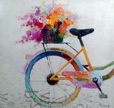 REAR WHEEL WITH FLOWERS - - HANDMADE OIL PAINTING ON CANVAS - WALL ART