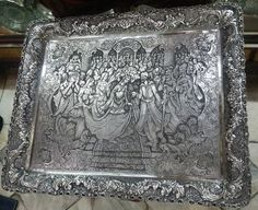 Unique and Magnificent Persian Silver Tray - Collectible Objet D'art