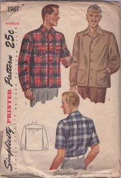 MOMSPatterns Vintage Sewing Patterns - Simplicity 1961 Vintage 40's Sewing Pattern COOL Men's Mad Men Don Draper Dress or Casual Shirt, Flannel, Hunting, Office or Day #MOMSPatterns