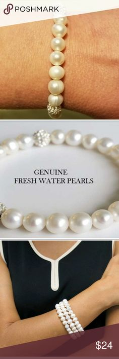NWOT Genuine Fresh Water Pearl Bracelet I love this piece! I have three!!! Sweet bracelet! Jewelry Bracelets