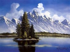 """Mountain Island"" is one of Bill's most popular paintings. Stately pines stand on a lonely island in the middle of a lake while snow-capped mountains and rising cumulus clouds provide a frosty backdrop. Oil Painting Pictures, Pictures To Paint, Beautiful Paintings, Beautiful Landscapes, Landscape Art, Landscape Paintings, Wet On Wet Painting, Bob Ross Art, Bob Ross Paintings"