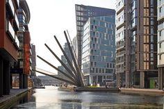 knight architects' #bridge over #london's paddington basin opens like a fan