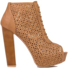 Perforated Peep Toe Lace Up Platform Camel Brown Booties ($20) ❤ liked on Polyvore featuring shoes, boots, ankle booties, heels, booties, ankle boots, camel, lace up platform booties, high heel booties and brown ankle boots