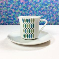 Vintage Retro 60s Design KPM Krister Porcelain Cup & Saucer Germany 5 Available