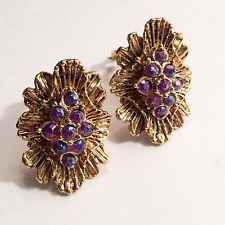 Vintage Starburst Earrings Purple AB Rhinestone Crystal Clips 1960'S