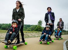 If I had a kid again, this would be a must-have:-)  Adventurous parents could soon be able to take their toddlers out on skateboarding trips with them - as a pushchair has been invented that combines the two. The wacky contraption consists of an elongated skateboard, known as a longboard, which has the seat section of a child's buggy attached to the front of it.