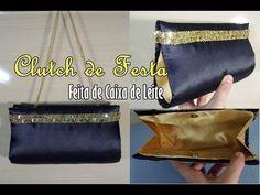 Clutch de Festa - Feita de Caixa de Leite por Greice Cavalcante.  Sobre a artesã:  Site: http://www.greicecavalcante.com Facebook: https://www.facebook.com/greicecavalcanteyoutube?ref=hl