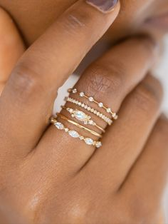 Some stacking inspiration for today- yellow gold and diamond straight bands surrounding the fantastic Moonstone Eyelet Ring This unique design also comes with a diamond or aquamarine marquise cut focal- to see all three visit Cute Rings, Pretty Rings, Unique Rings, Cute Jewelry, Jewelry Rings, Silver Jewelry, Diamond Stacking Rings, Silver Rings Handmade, Engagements