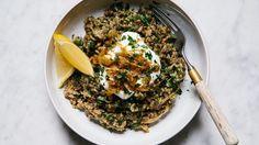 Brown Rice Mujadarra with Mixed Herbs Recipe | Bon Appetit