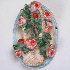 Cast iron vintage door knocker Basket of Roses