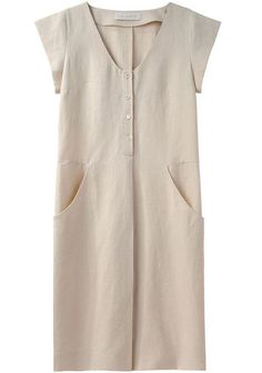 Cacharel | Cap Sleeve Linen Dress | La Garçonne
