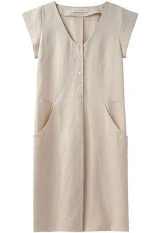 Cacharel   Cap Sleeve Linen Dress   La Garçonne