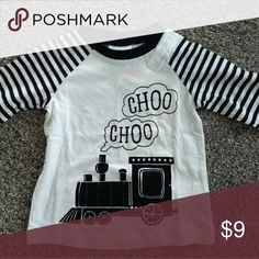Train lovers Tee From First Impression's,  12 month Choo Choo Train Tee. Back is solid white. First Impressions Shirts & Tops Tees - Long Sleeve